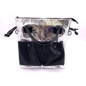 Crackled Metallic Handbag w/ Adjustable Strap